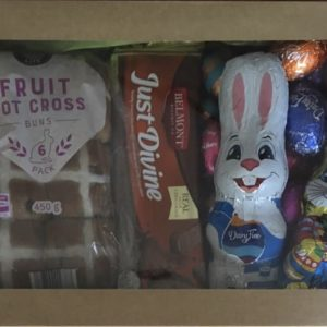 Easter box containing chocolate bunny and other sweet treats