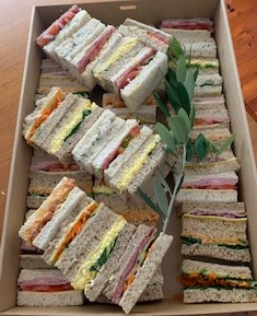 Selection of ribbon-cut sandwiches